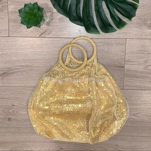 NWOT GAP Gold Sequin Crochet Medium Tote Bag